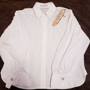 MNG by Mango white long Sleeve Blouse